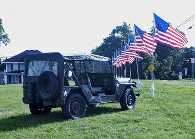 Jeep and flags