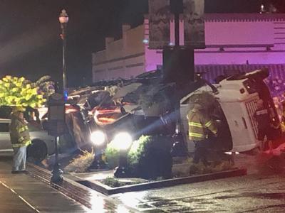 Suspected Stolen truck overturns picture