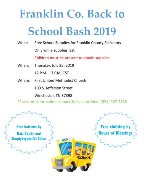 Back to School Bash Thursday - Free school supplies