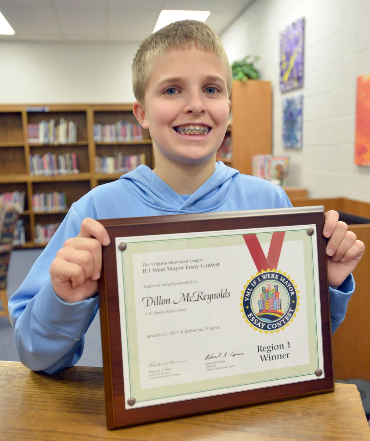 local seventh grader wins statewide essay contest news  mcreynolds essay winner 01