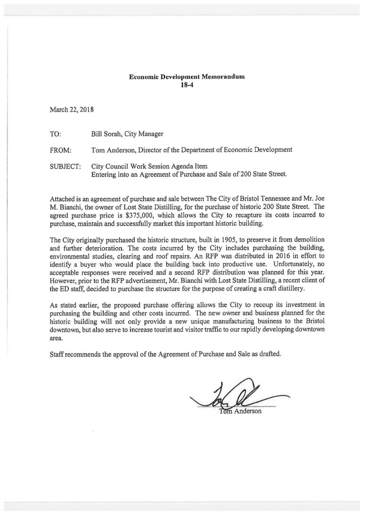 Proposed Purchase Agreement For Lost State Distillery