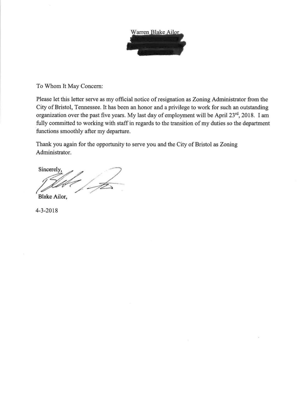 Ailor Resignation Letter Heraldcourier Com