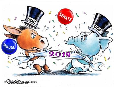 editorial cartoon new years tug