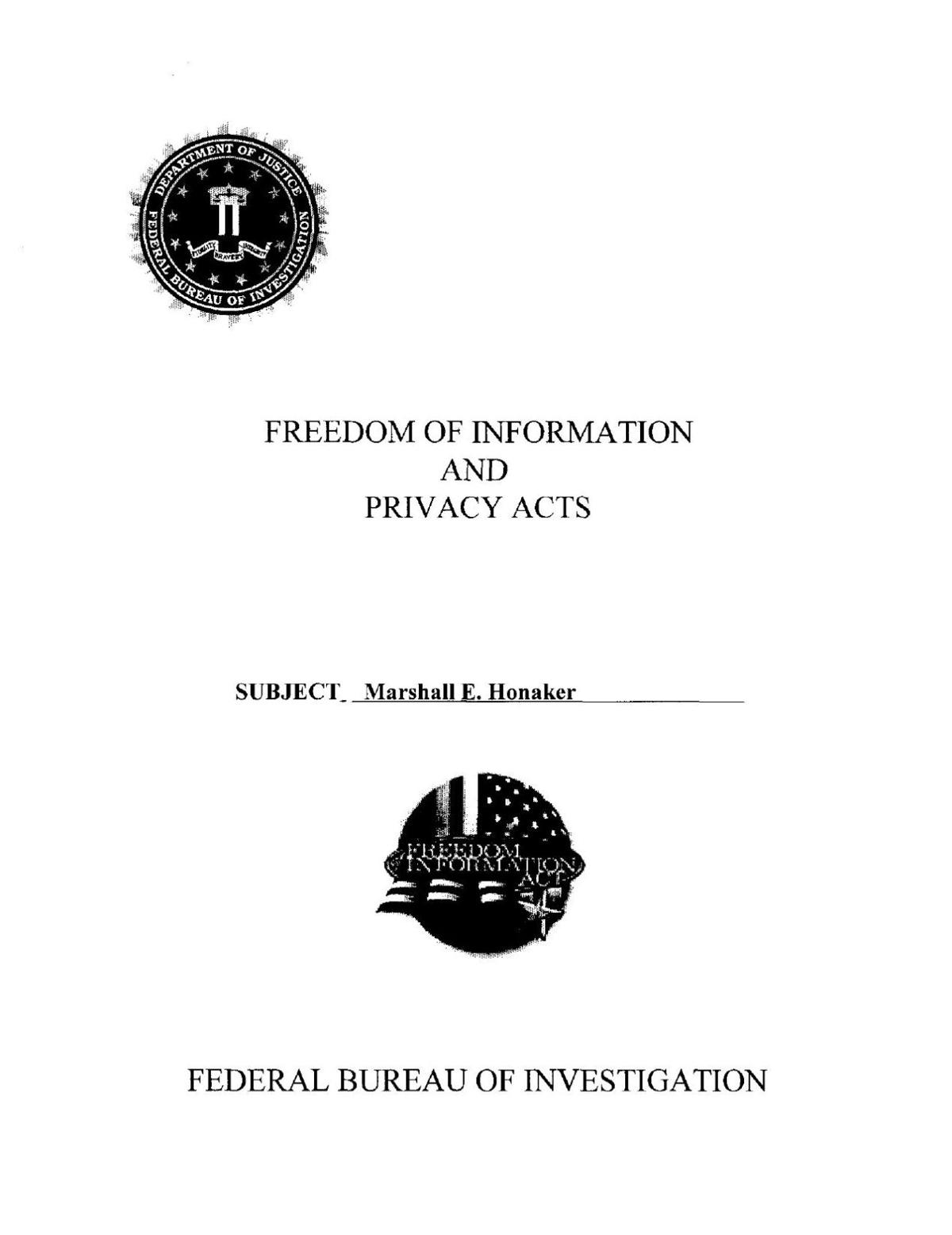 Marshall Honaker FBI file