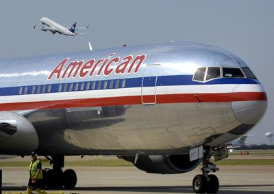 An American Airlines jet at Dallas-Fort Worth International Airport.
