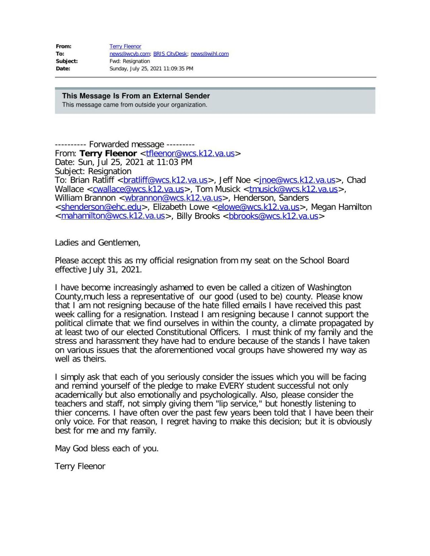 Terry Fleenor Resignation Letter