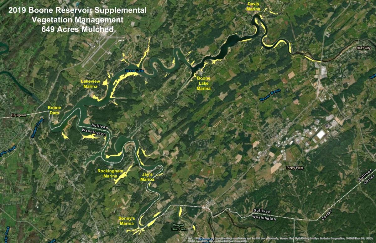 Boone Lake vegetation clearing map