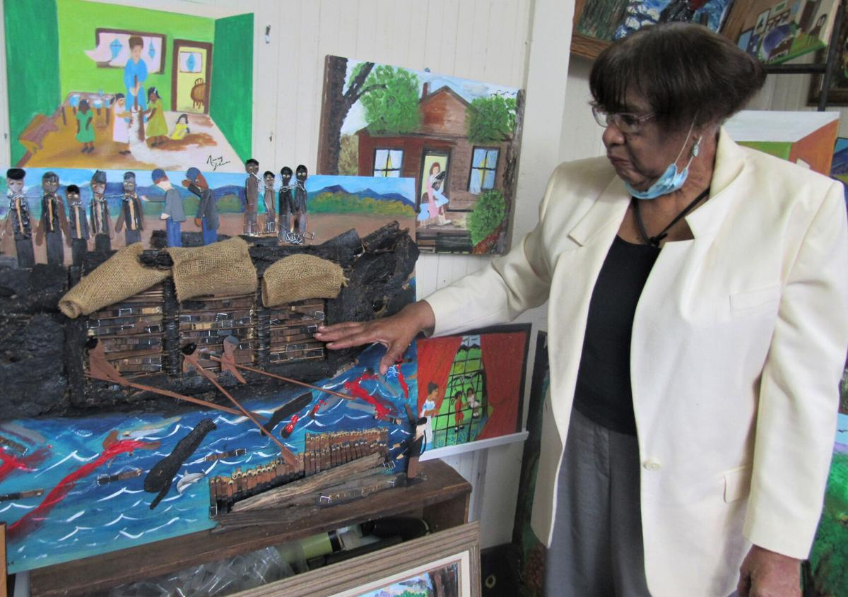 3, pointing to Slave Ship painting