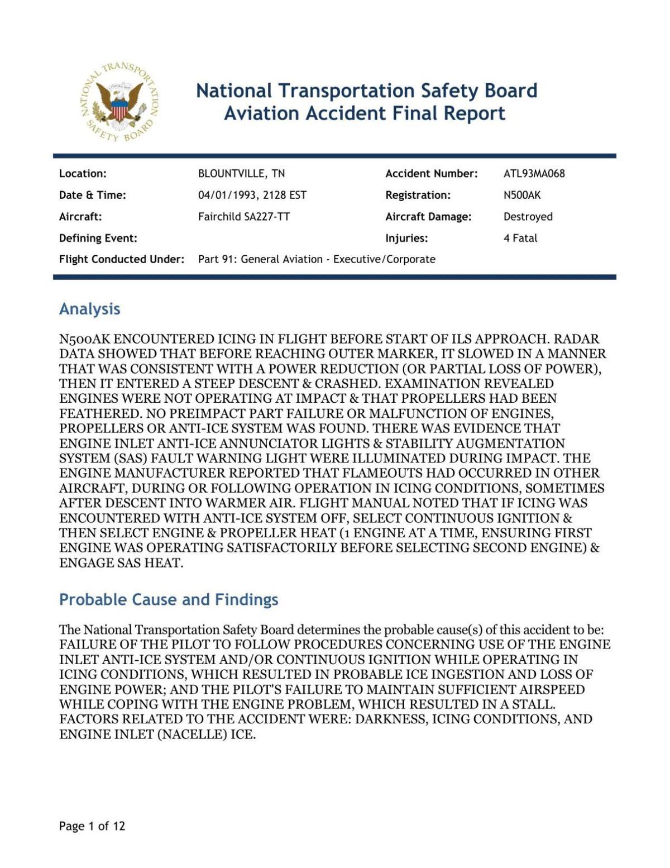 NTSB Kulwicki crash report