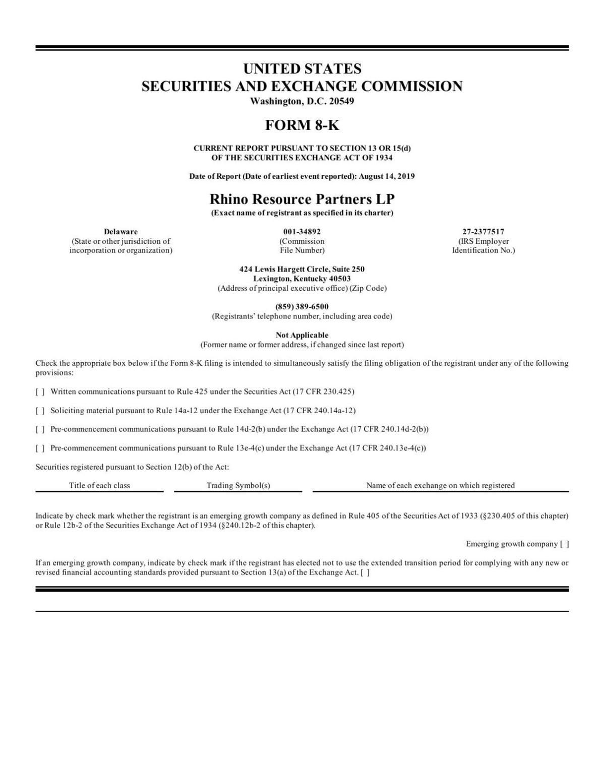 Rhino SEC filing -Blackjewel assets