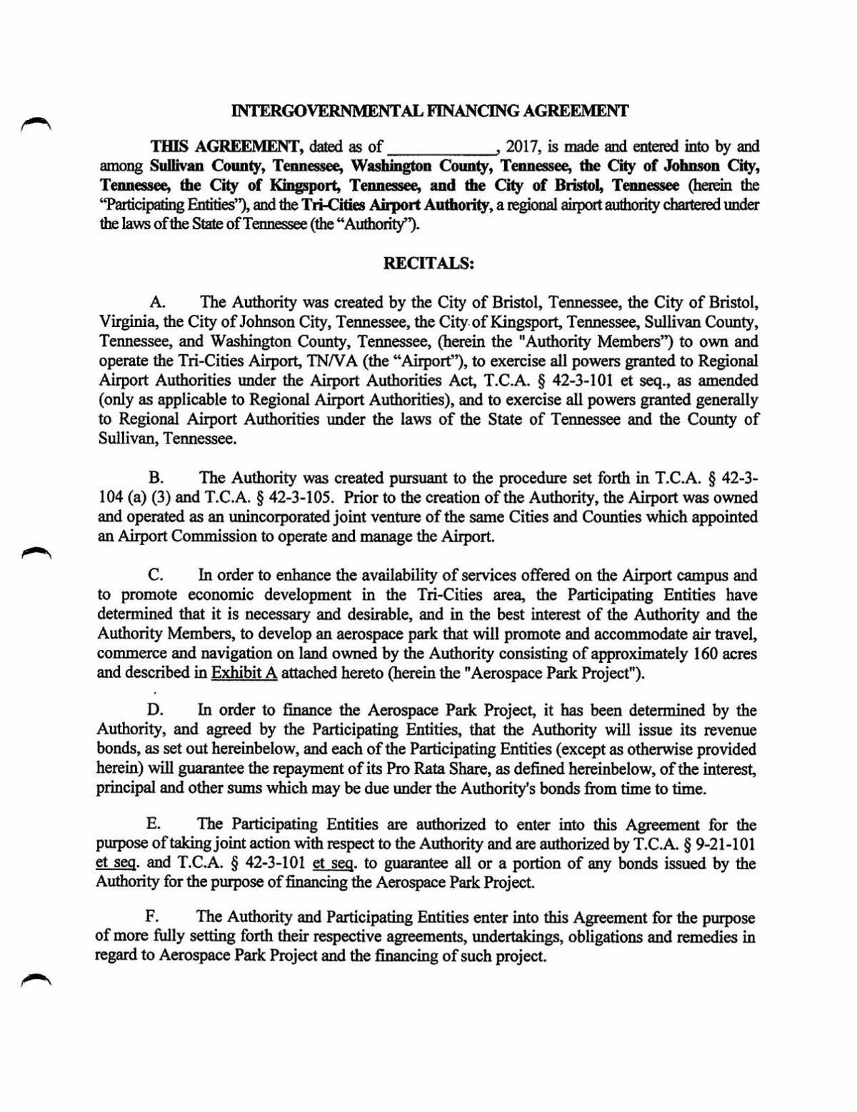 Aerospace Park Intergovernmental Financing Agreement