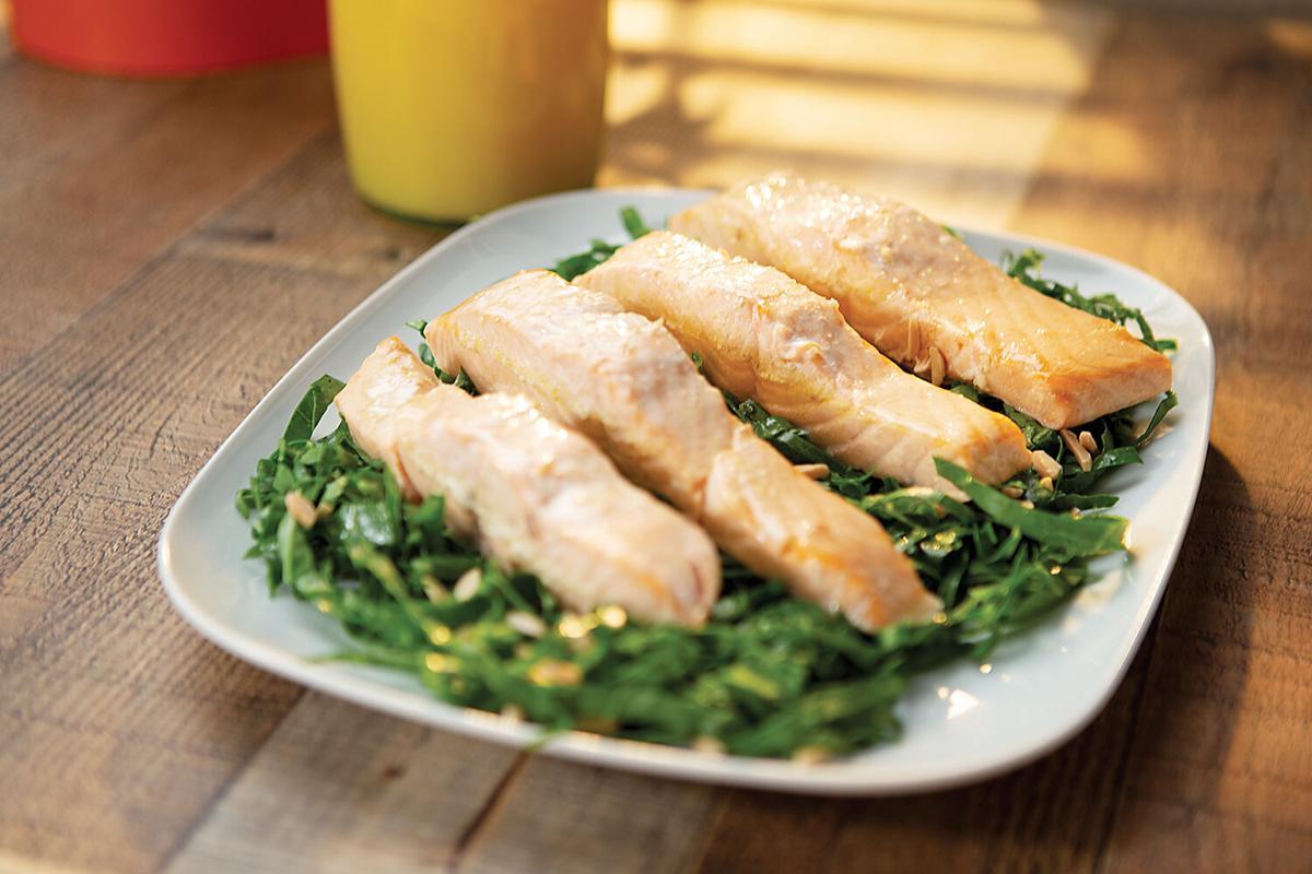 Poached Salmon with Collard Green Salad