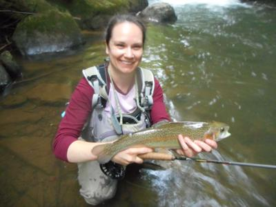 Ashley with rainbow trout