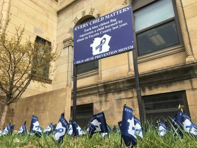 Child Abuse Prevention Month flags