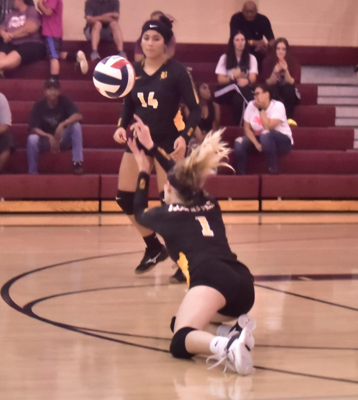 Lady Falcons' Seto with the save