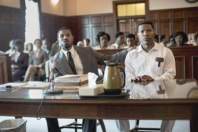 Jamie Foxx plays a wrongly accused man in the film 'Just Mercy'
