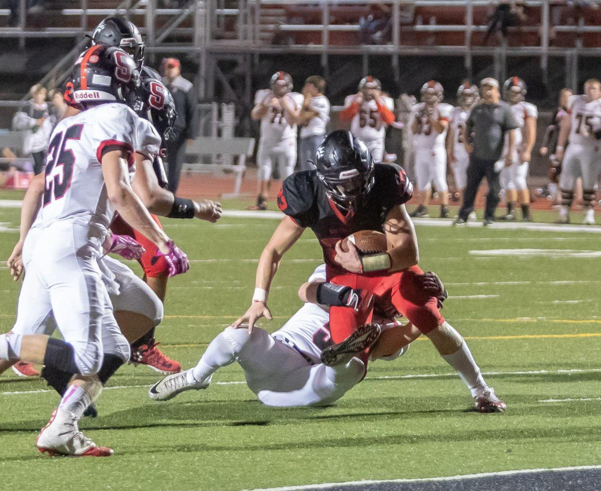 Perry looks to the end zone
