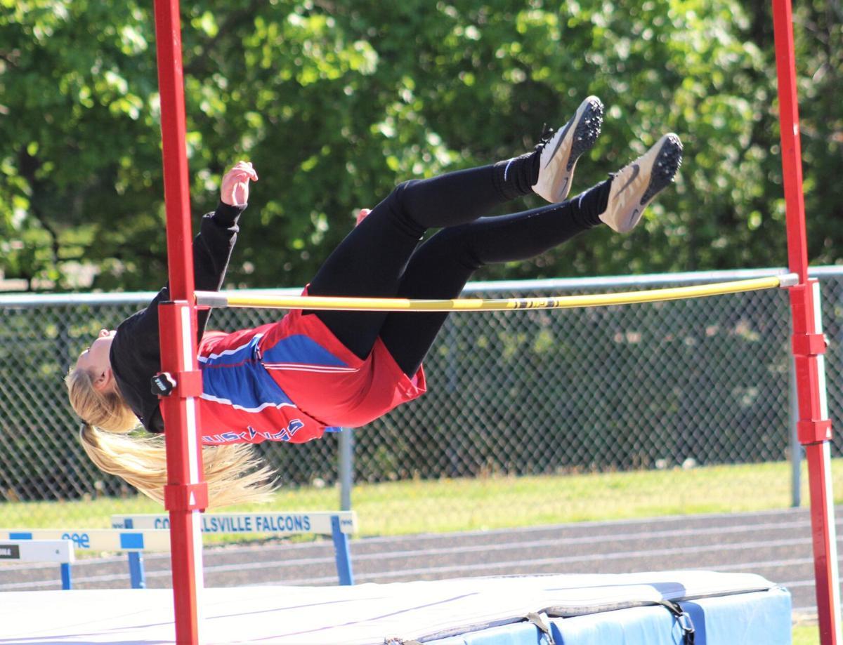 Ciez clears the bar in the high jump