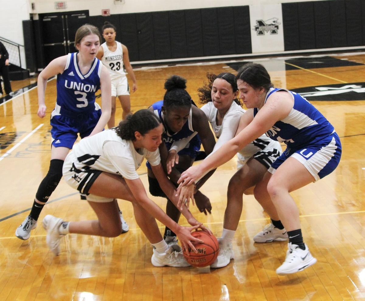 Battle for the loose ball