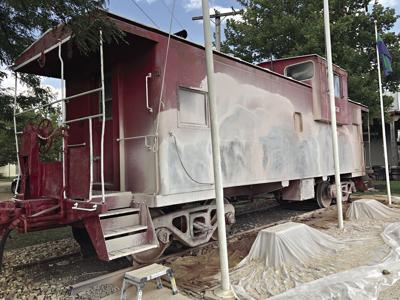 Hermann caboose gets sandblasted