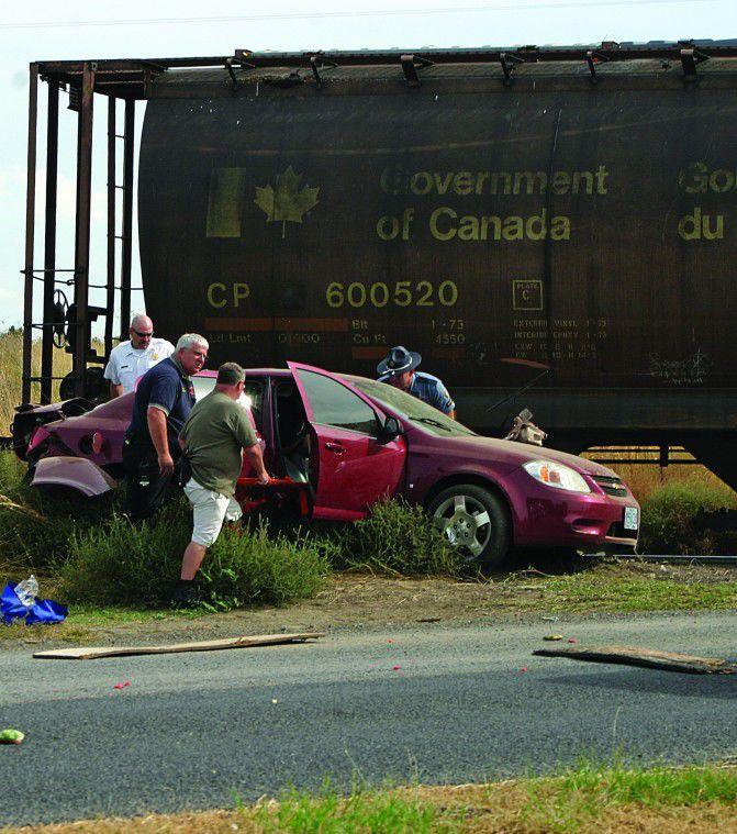 Driver survives train vs. car collision