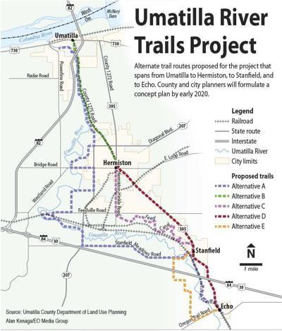 Big Umatilla river trails map
