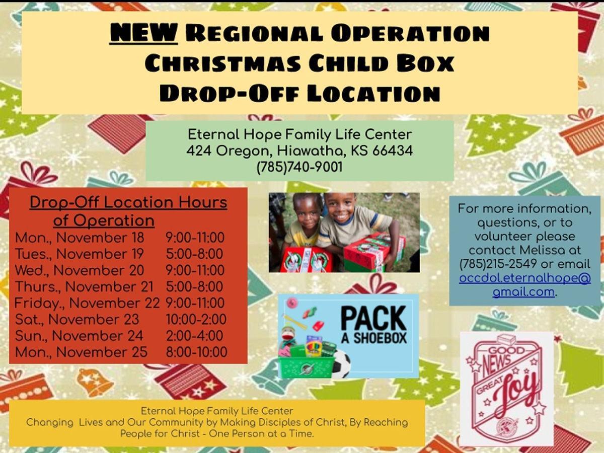 Eternal Hope hosting Operation Christmas Child drop off site | Hometown | hiawathaworldonline.com