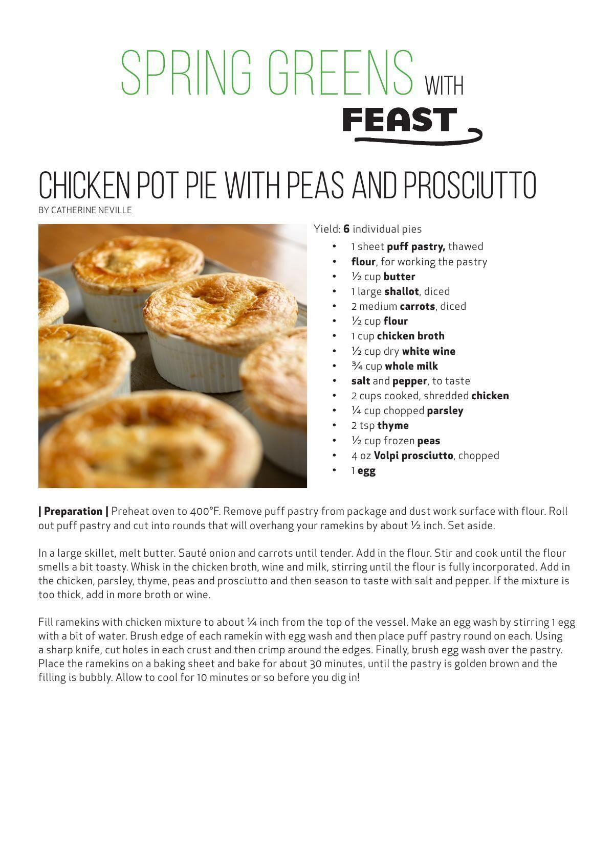 Download the Chicken Pot Pie with Peas and Prosciutto recipes