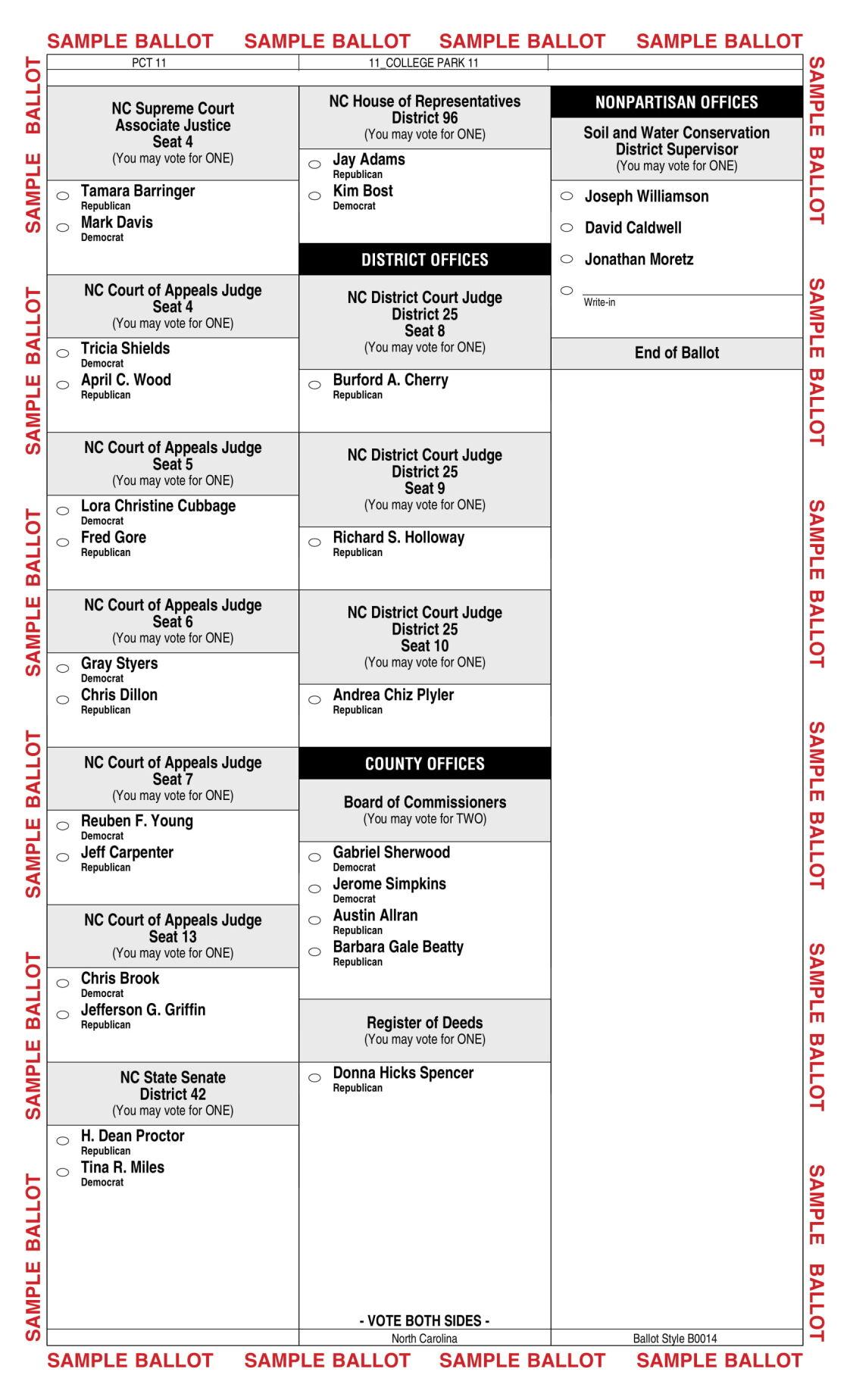 Sample Ballot Page 2