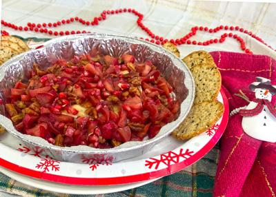 Apple and Pomegranate Topped Brie