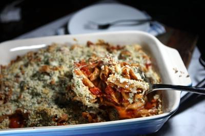 Lighter chicken parmesan pasta bake
