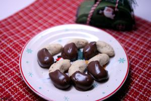 Chocolate-dipped almond-toffee moons