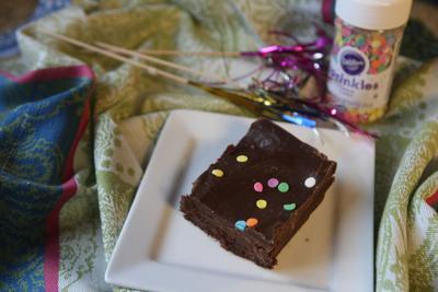 Sprinkle-topped fudgy brownies