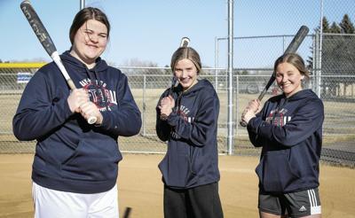 Kinsey Parker, Marit Judisch and Hannah Edinger softball