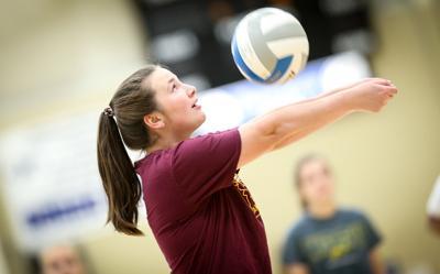 Mataya Arenda passes the volleyball