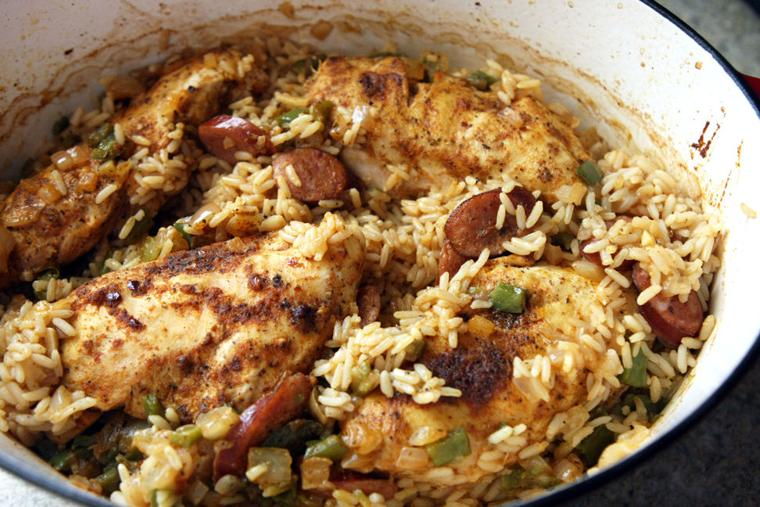 Cajun baked chicken & rice
