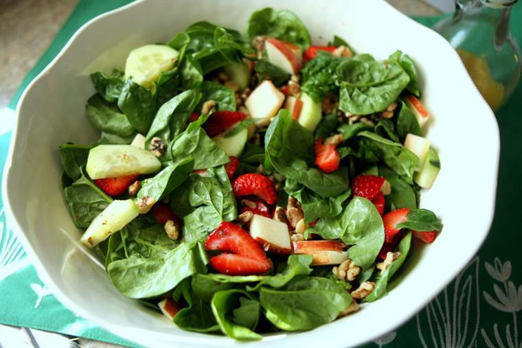 Spinach salad with honey-mustard vinaigrette