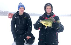 Truman Berge and Mason Hennings show off their 1.65-pound crappie