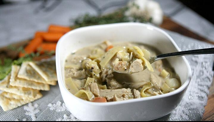 Lighter creamy chicken noodle soup