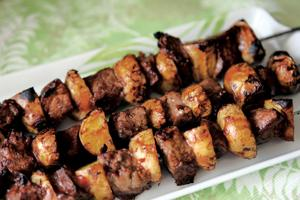 Meat and potato kabobs