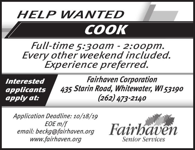 Fair haven HELP WANTED