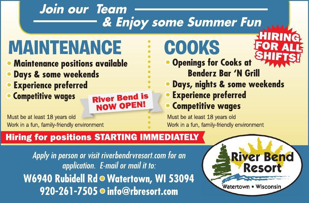 River Bend Mainteanace/Cooks