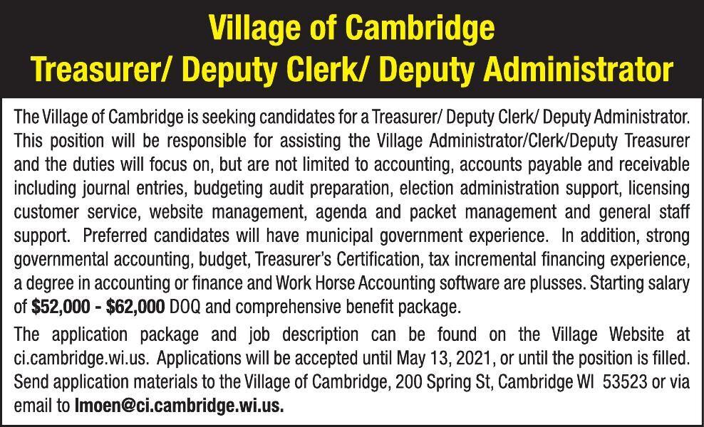 Village of Cambridge Treasurer/Deputy Clerk/Deputy Administrator
