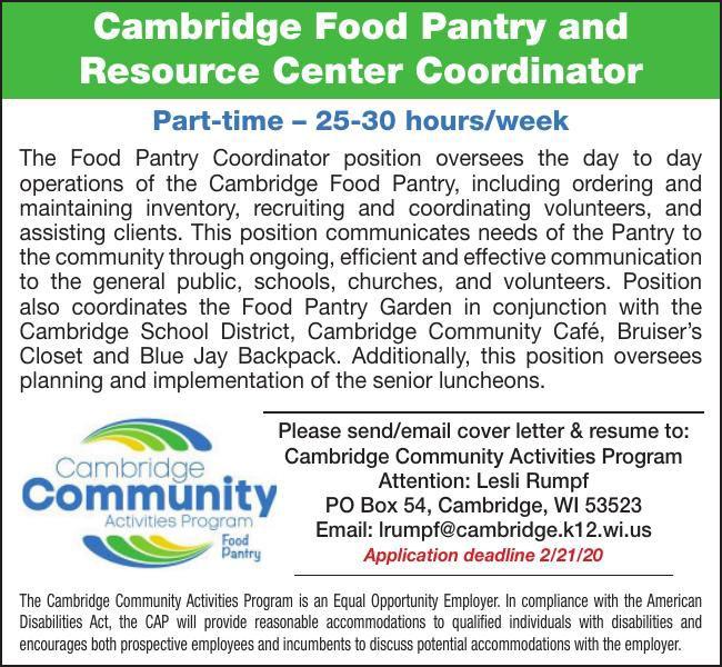 Cambridge Food Pantry & Resource Center Coordinator