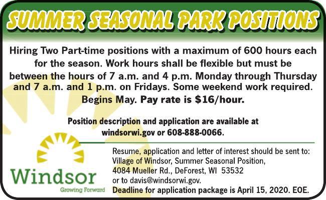 Summer Seasonal Park Positions