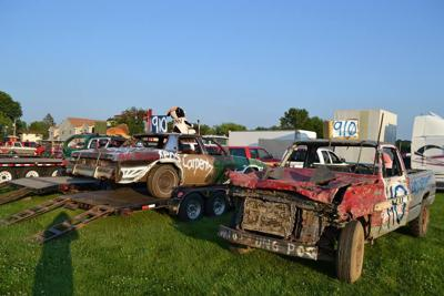 Vehicles after a demolition derby