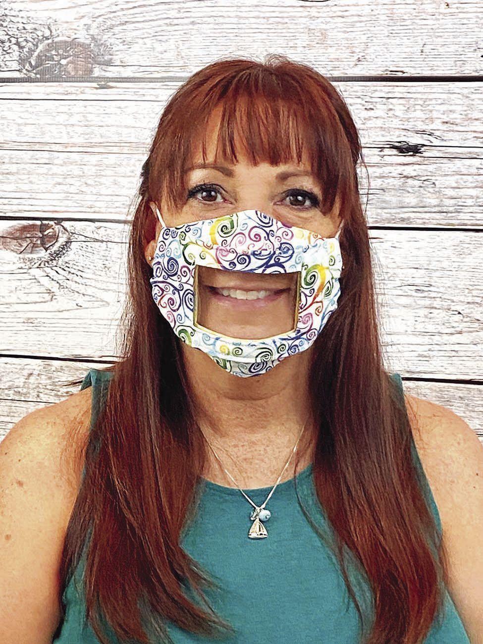 Renee Dorsey modeling Smile Mask