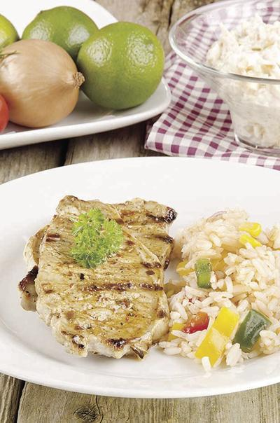 Pork chops with rice