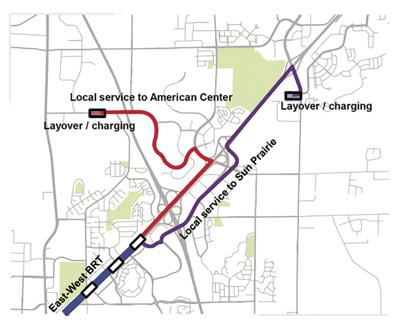 Proposed BRT routes with charging stations