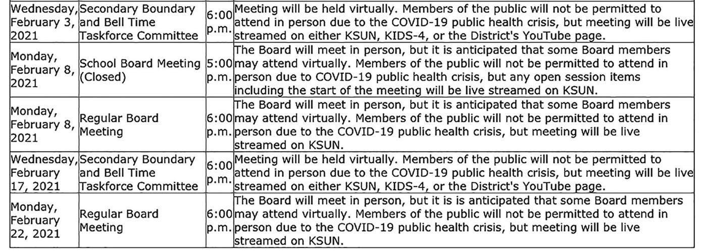 Upcoming Sun Prairie School Board meetings